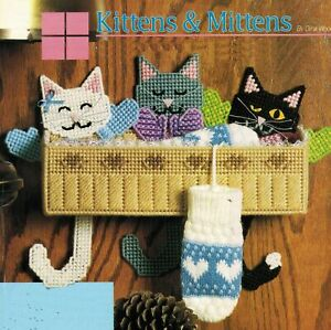 plastic canvas kitten cat mitten mouse caddy sewing basket