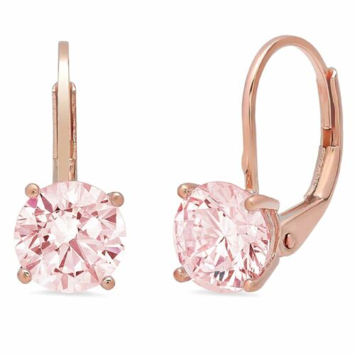Details about  /2ct Round Cut Drop Dangle Pink Stone Real 18K Pink Gold Earrings Lever Back