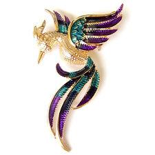 Phoenix Flying Bird Peacock Peafowl Blue Green Gold Enamel Vintage Brooch Pin
