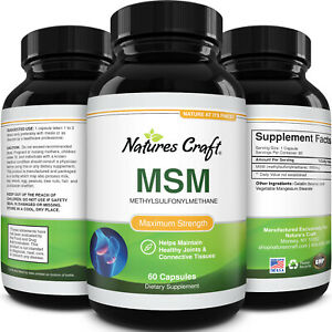 MSM Supplement Capsules 1000mg Antioxidant Sulfer Healthy Joints and Digestion