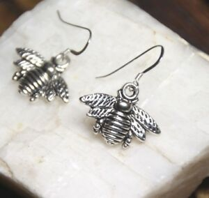 Bumble-Bee-Earrings-Bumble-Bees-925-Sterling-Silver-Hooks-Pewter-Charm-Pendants