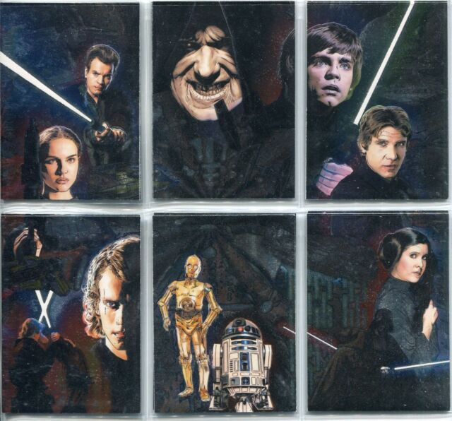 Star Wars Galaxy 5 Complete Etched Foil Puzzle Chase Card Set 1-6