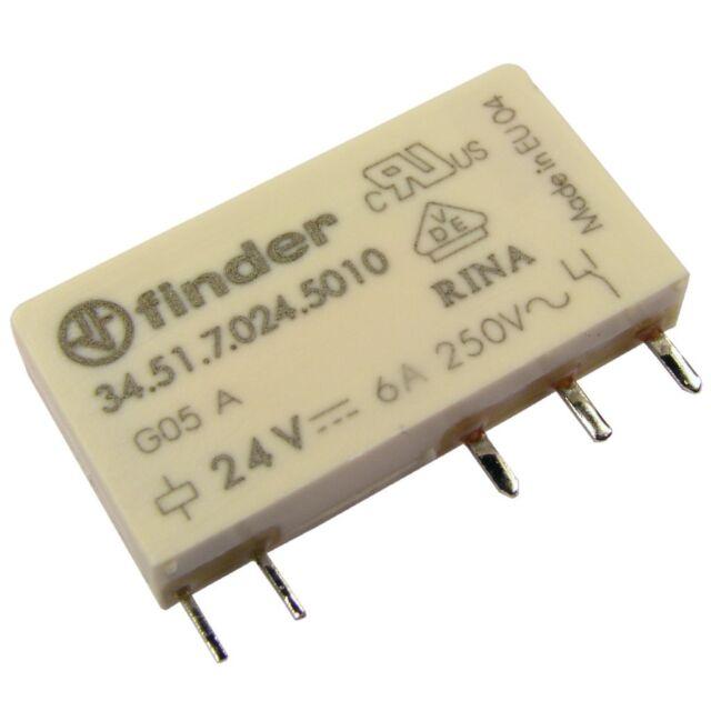 Finder 34.51.7.024.5010 Relais 24V DC 1xUM 6A 3850R 250VAC Au Relay Print 069231