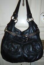 Designer B. MAKOWSKY Black Leather Hobo Tote Shoulder Bag Handbag Purse