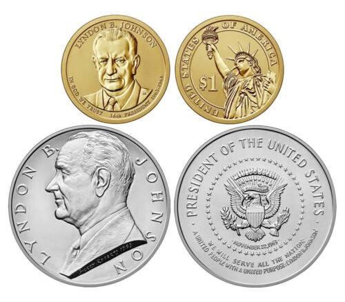 2015 Coin Chronicle Set LYNDON JOHNSON $1 Reverse Proof Silver Medal Stamp ERROR
