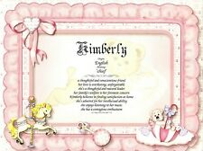 "Baby Girl Personalized Name Meaning 8.5""x11"" Ready to Frame Print"