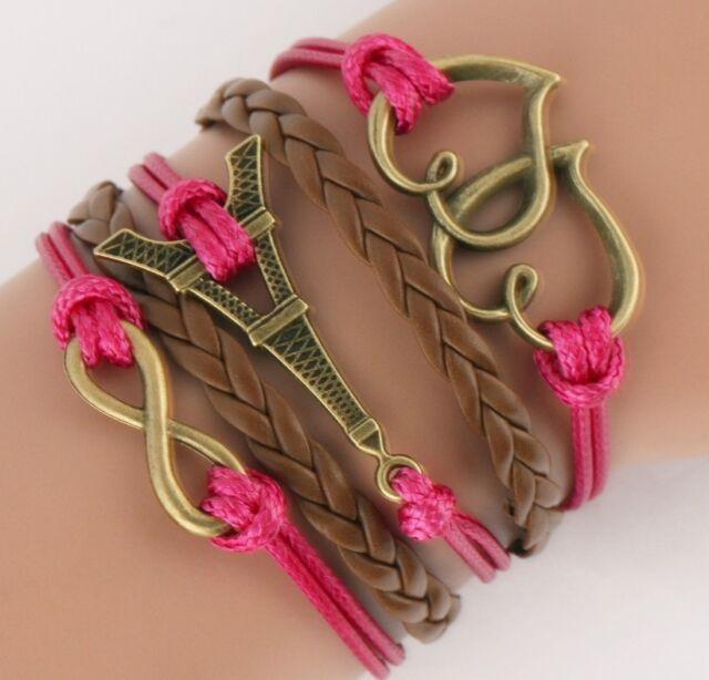NEW Hot Infinity Eiffel Tower Leather Cute Charm Bracelet Bronze DIY SL55