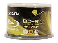 600 Ridata 4x Bluray Lth Blank Bd-r 25gb White Inkjet Hub Printable Media Disc