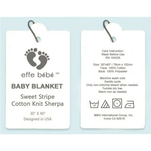 """effe bébé Sweet Stripe Cotton Cable Knit Sherpa Baby Blanket 30""""x40"""" Peach Pink"""