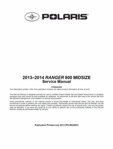 Polaris 2013 2014 Ranger 800 Midsize UTV service manual in 3-ring binder