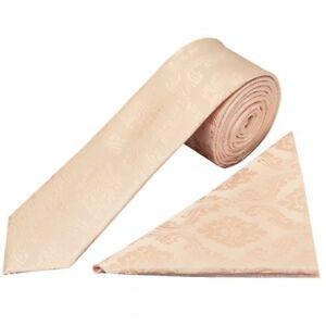 Handmade Light Peach Paisley Skinny Men's Tie and Handkerchief Slim Wedding Tie
