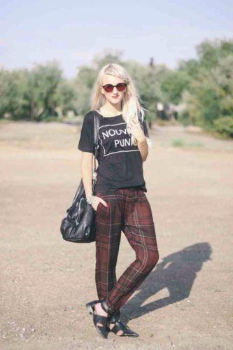 Zara Blogger Lila Kastanienbraun Kariert Locker Sitzend Hose Größe GRÖSSE M