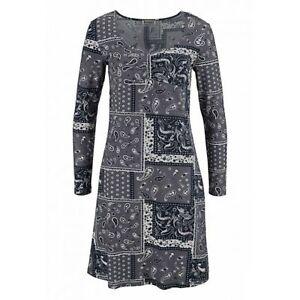 BOYSEN'S Kleid Jersey Patchwork Grau Bedruckt Neu Gr. 36 ...