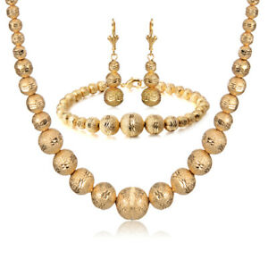 Indian-bridal-Western-Beads-Earring-Bracelet-Necklace-Jewelry-Sets-Gold-filled