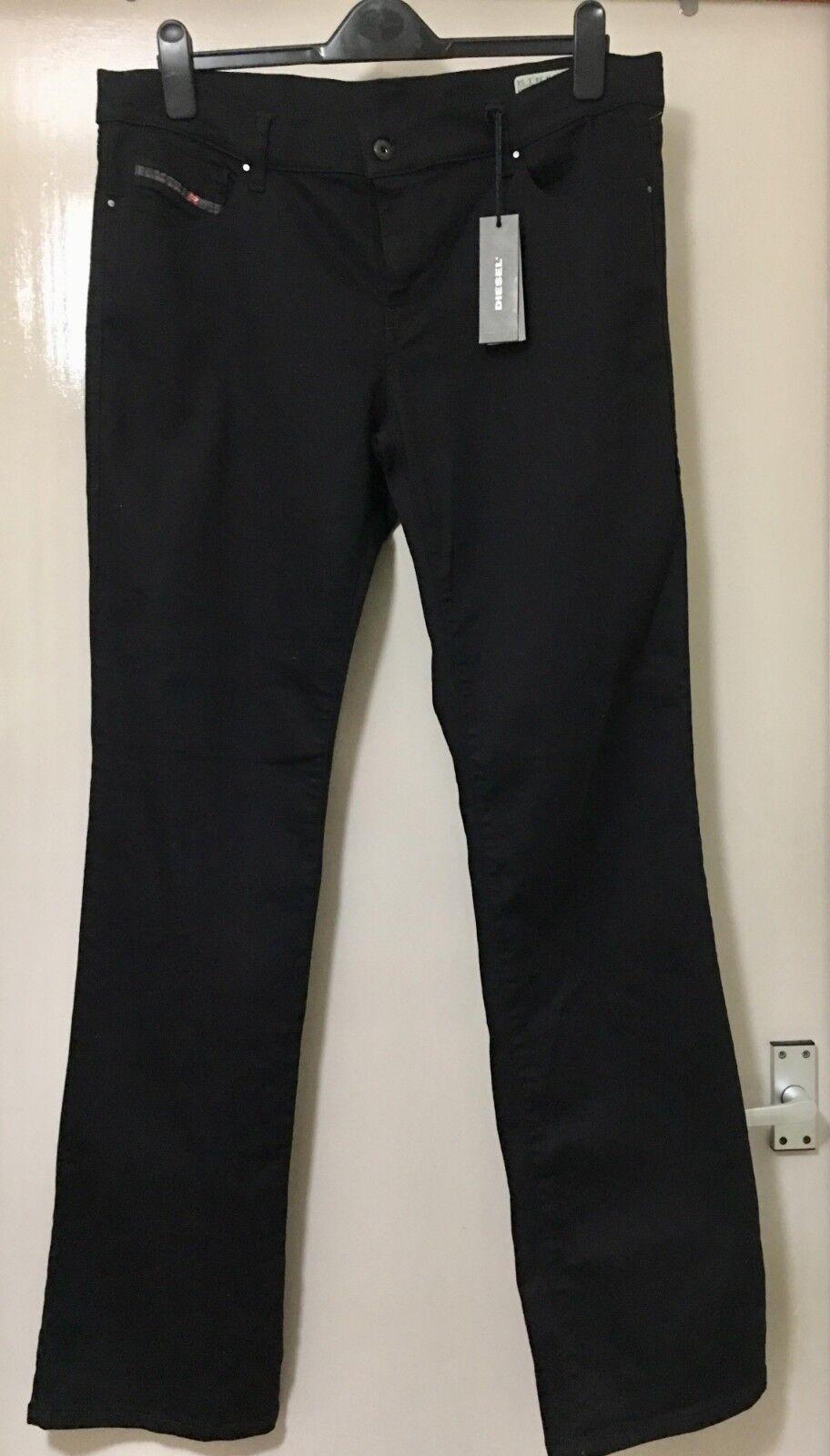 uomo DIESEL elastico regolare Slim avvio Cut Jeans Nero taglia 34W 34L ITALIA MADE