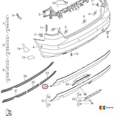 NUOVE Originali AUDI A3 13-16 SLINE Paraurti Posteriore Diffusore Trim DOPPIO TUBO 8V3807521F