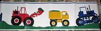 Red Bulldozers Yellow Dump Trucks & Blue Tractors Self-adhesive Wallpaper Border