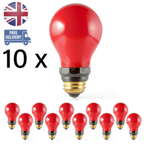 Pack of 10 x Darkroom Safelight 15W Red Light Bulbs Screw Fit ES PF712E E27