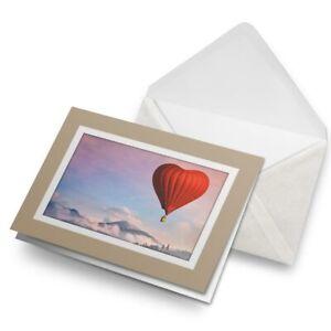 Greetings-Card-Biege-Heart-Hot-Air-Balloon-Love-Wife-Fiance-8703