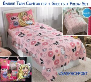 Details about 6-piece BARBIE Doll Twin/Single COMFORTER +SHEETS +Decor  Pillow SET Bed in a Bag