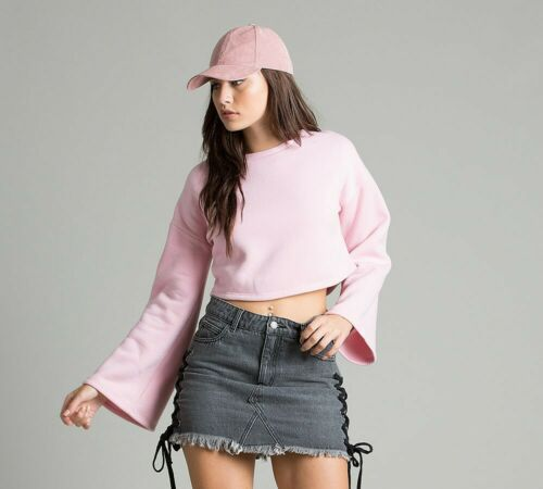 PA1 Femme Glamour Cropped Rose Clair Sweat RRP £ 19.99
