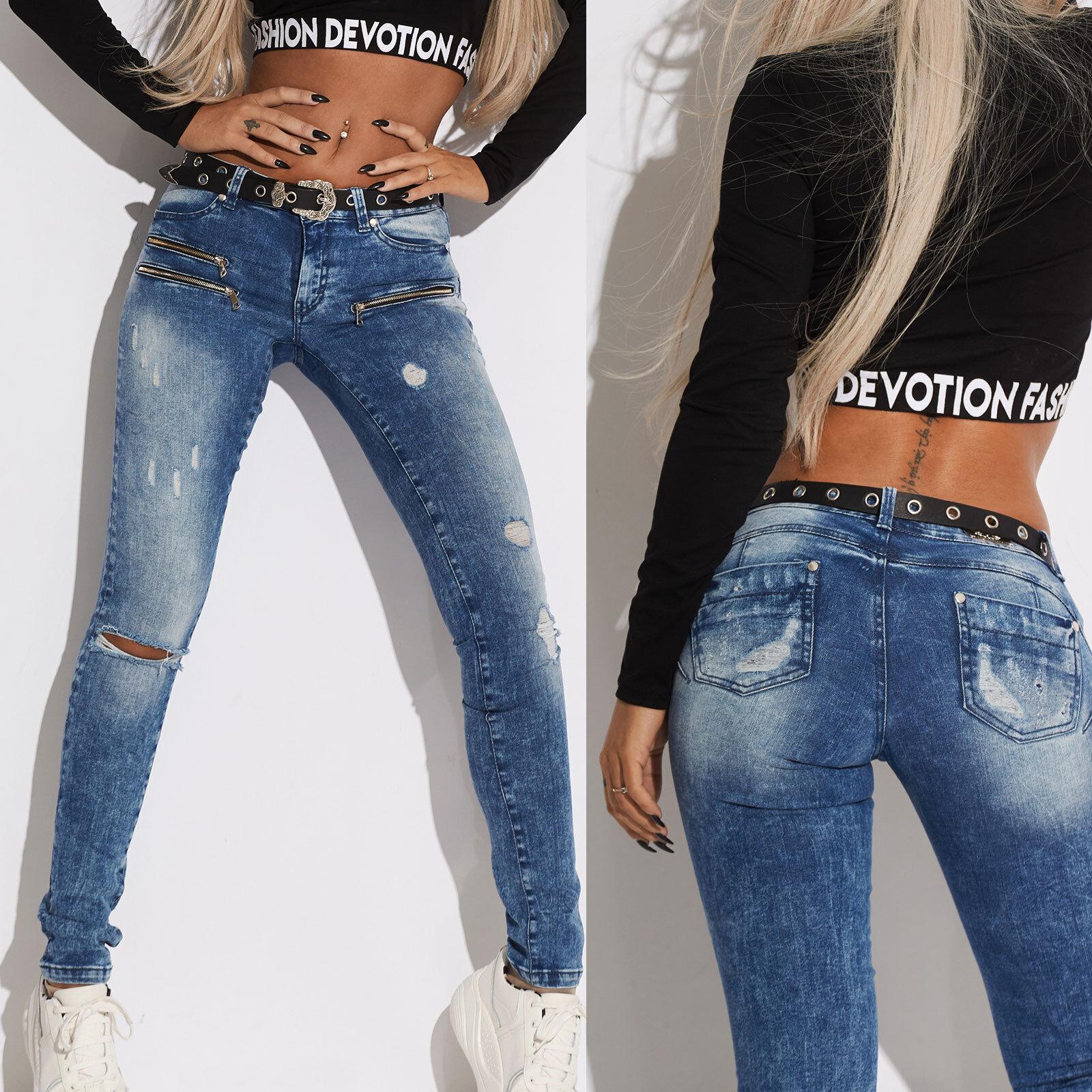 By Alina Damenhose Stretchjeans Röhrenjeans Hüftjeans Skinny Jeans Zipper XS S M