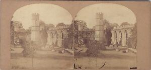 UK Inghilterra Wells Vescovile Palace Vintage Stereo Albumina 1859