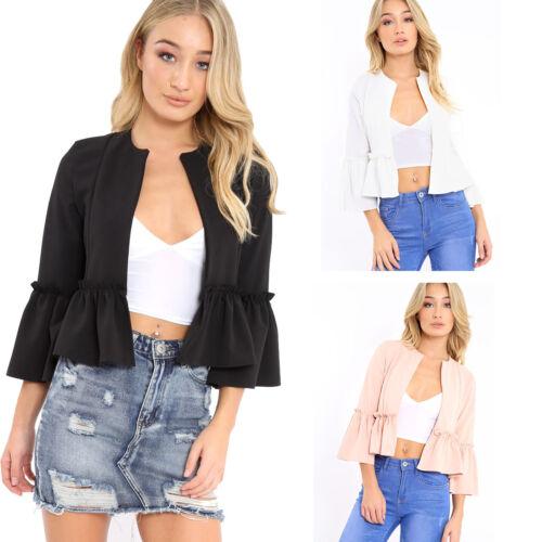 New Womens Ladies Ruffle Frill Bell Sleeve Blazer Jacket Coat Top Size UK 8-14