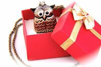 Vintage Bronze Owl Pendant Quartz Watch Chain Necklace With White Dial Numbers