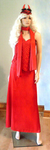 LADIES LONG RED EVENING PARTY OUTFIT TOP SKIRT SCARF PLUS SIZE 3PC NEW 18 /& 24
