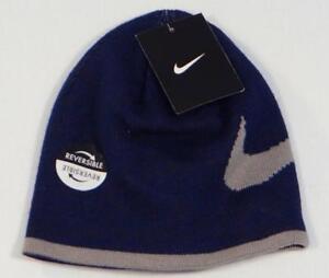 79b249db Nike Swoosh Navy Blue & Gray Reversible Beanie Skull Cap Youth Boys ...