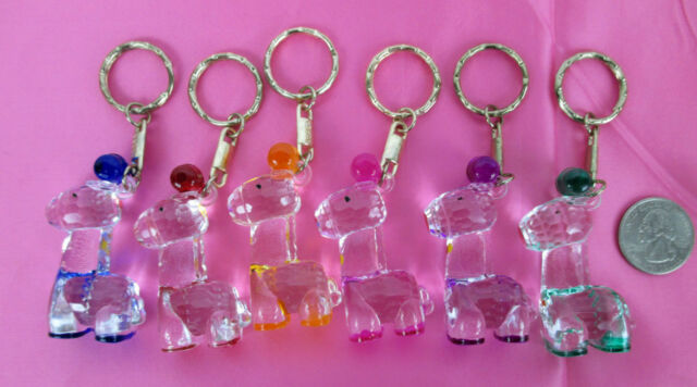 WHOLESALE LOT OF 6,12,24 PC--6 COLOR PAINTED CRYSTAL CLEAR ANIMAL KEYCHAIN
