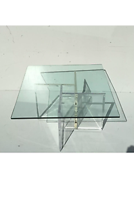 Mid Century Modern Acrylic Lucite And Glass Coffee Table Vintage