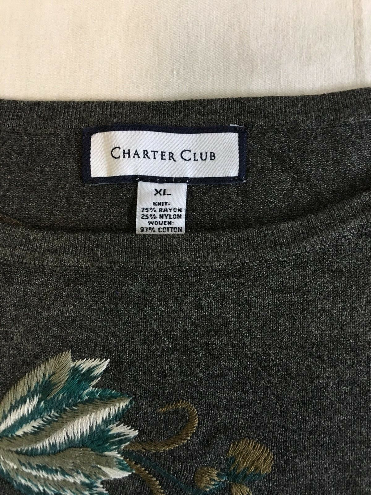 Charter Club  79 Women's Layered Look Embroidered Embroidered Embroidered Long Sleeve Sweater, XL Grey 87143d