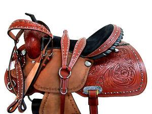 ARABIAN-WESTERN-HORSE-SADDLE-PLEASURE-TRAIL-TOOLED-LEATHER-TRAIL-TACK-SET-15-16