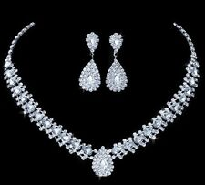 Wedding Bridal Crystal Choker Style Necklace Earring Jewellery set Party, Gift