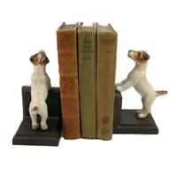 Jack Russell Cast Iron Bookends Collectable Heavy Fox Terrier Dog Book Ends