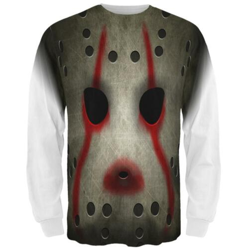 Halloween Horror Movie Hockey Mask Costume All Over Mens Long Sleeve T Shirt