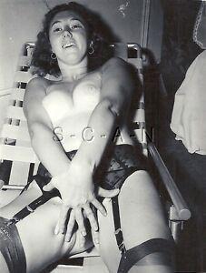 Original Vintage 1940s-60s Semi Nude RP- Brunette in Bed