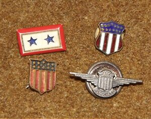 WWII-US-2-Sons-In-Service-Pin-Jahco-Associate-Wings-Sterling-2-Shield-Pins