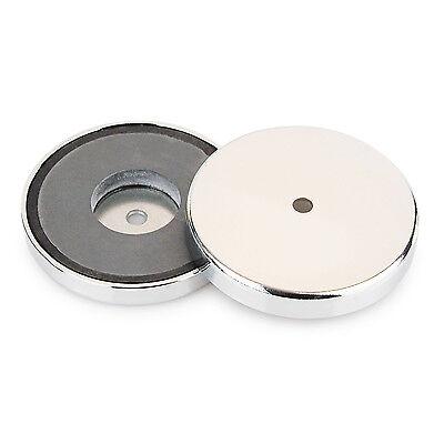 81 mm x 10 mm bis zu 43 kg Haftkraft Runder Magnet Rundmagnet mit Chromblende