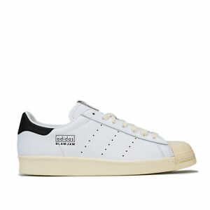 Hommes-Adidas-Originals-Superstar-80-S-Slam-Jam-Baskets-En-Blanc-a-Lacets-Fermeture