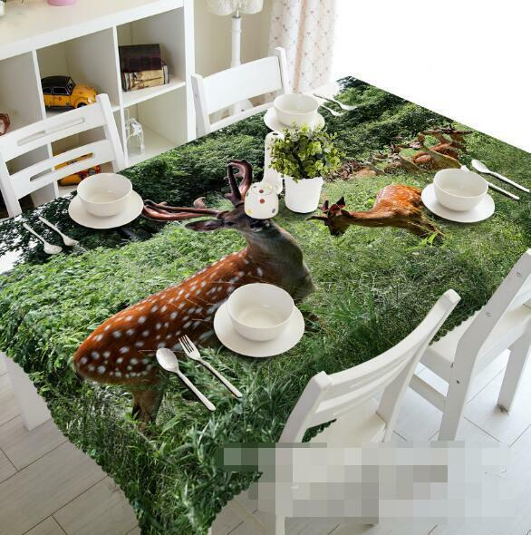 3D Lawn Deers 103 Tablecloth Table Cover Cloth Birthday Party Event AJ WALLPAPER