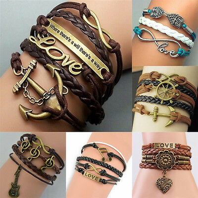 Anchor Rudder Love Infinity Leather Rope Charm beaded Bangle DIY Bracelet Hot