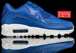 Detalles de Nuevo Y En Caja nuevos Hombres Muchachos NIKELAB Nike Air Max 90 Ltr Cuero Azul 4 5 6 ver título original