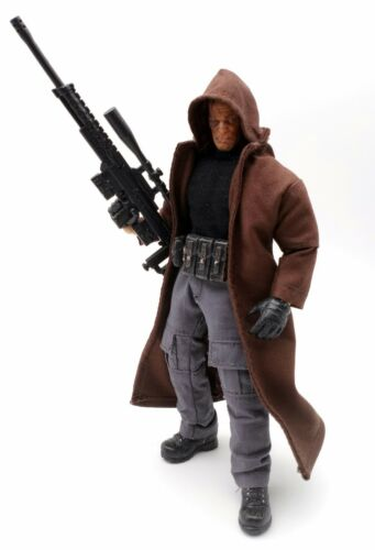 No Figure M Size Long Dark Brown Hooded Coat for Mezco Punisher