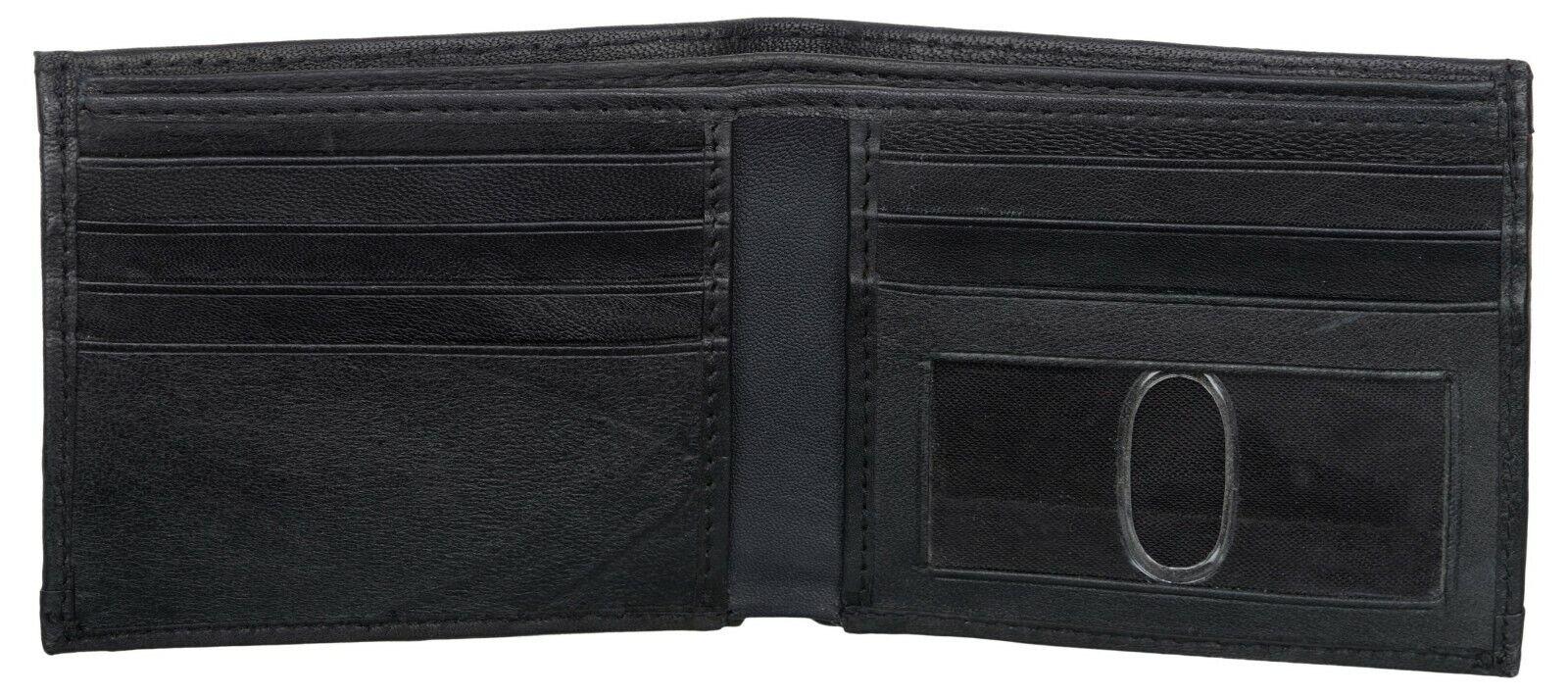 USA FLAG Men's Black RFID Blocking Genuine ID Window Leather Slim Bifold Wallet
