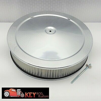 """14/"""" round chrome air cleaner assembly kit FLAT base 3/"""" filter SBC BBC Holley"""