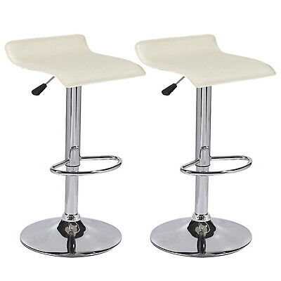 Strange Set Of 2 Cream Bar Stool Swivel Seat Counter Height Chrome Base Dinning Chairs Machost Co Dining Chair Design Ideas Machostcouk