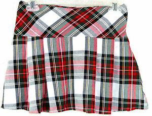 Scottish-Tartan-Skirt-Red-White-Yellow-Black-Green-U-S-Size-0-Made-in-U-K